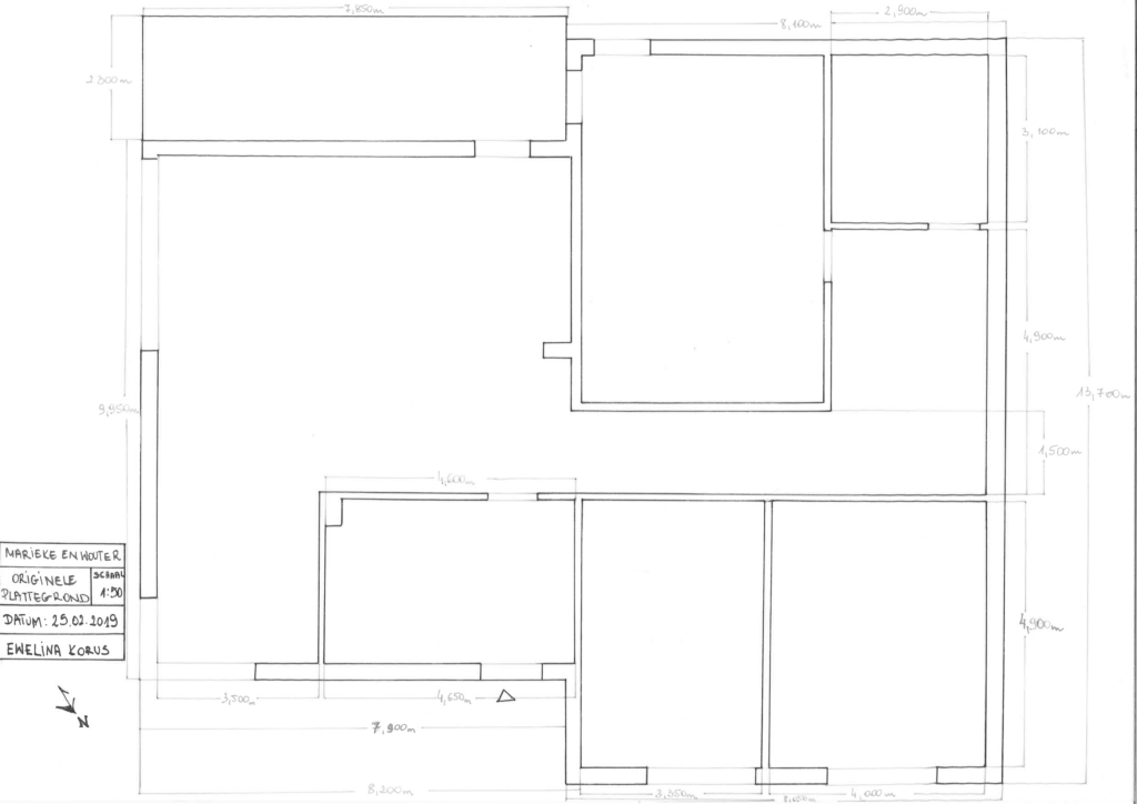 Originele plattegrond beganegrond woonhuis