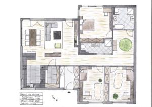 Plattegrond beganegrond woonhuis inrichting en indeling in kleur, aanvraag