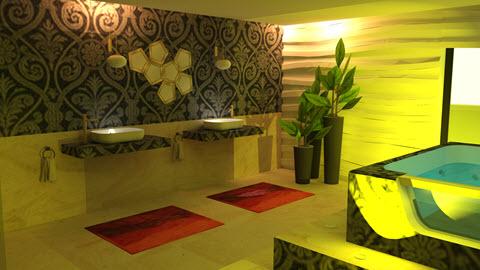 badkamer ontwerpen door Interisfeer met gebruik van de natuursteen