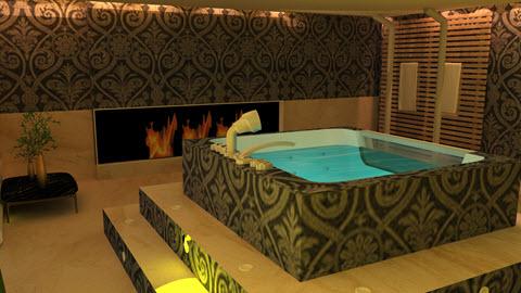Sfeervol badkamer met eigen jacuzzi & openhaard ontworpen door Interisfeer