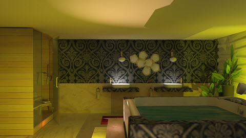 badkamer met prive sauna ontworpen door Interisfeer
