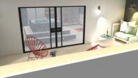 Het balkon vanuit prive wellness ontworpen door Interisfeer