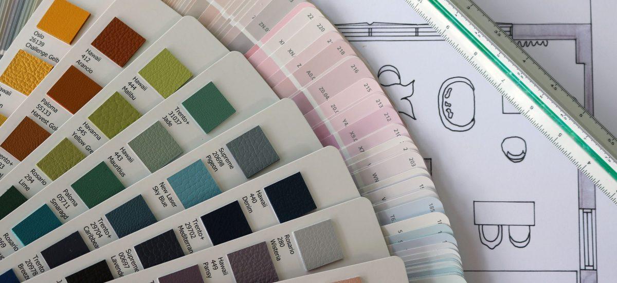 kleurenstalen met werktekening huisinrichting Interisfeer